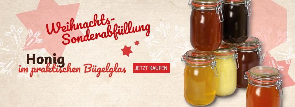 Unsere Weihnachtssonderabfüllung Honig im Bügelglas